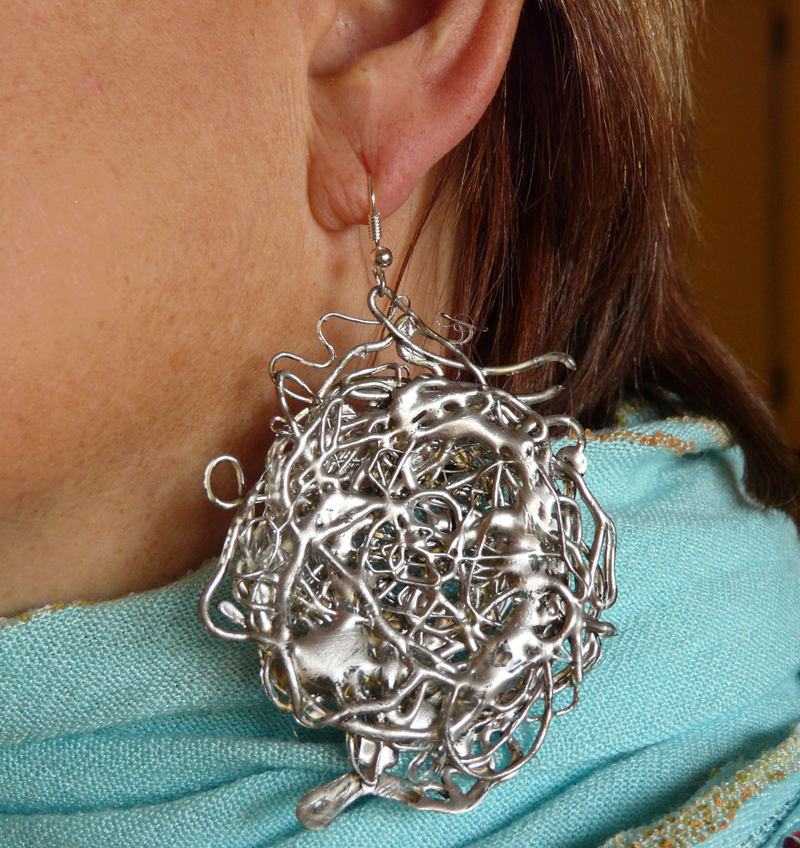 Faux Melted Silver Ore Earrings