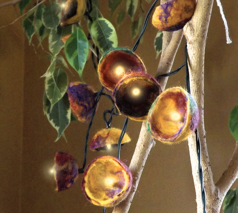Felted Balls and String Lights